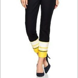 Slim Cropped Black Pants with Yellow Ankles